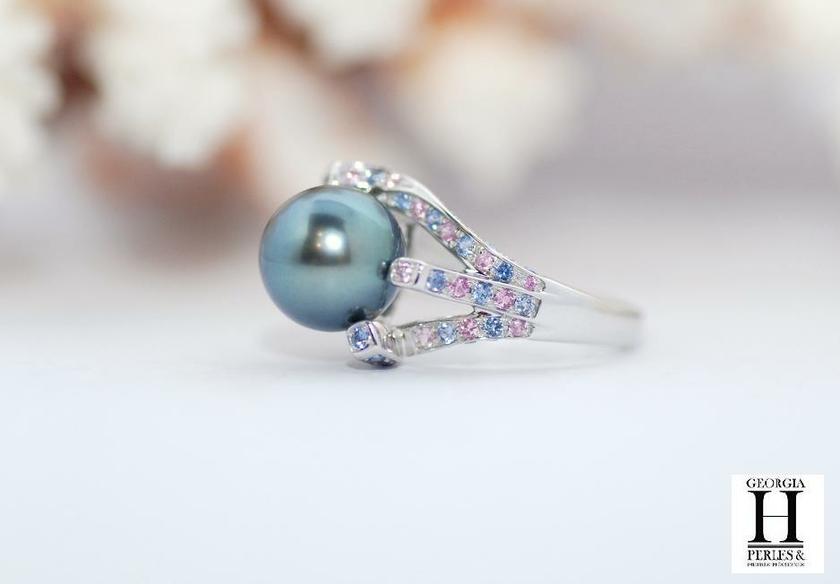 bague perle bleu