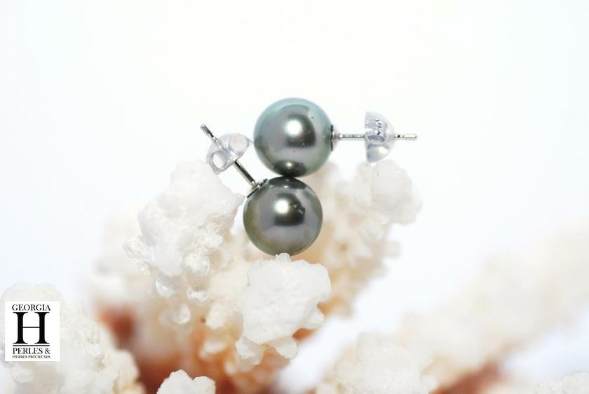 Boucles d'oreilles Boutons perles de tahiti (4)