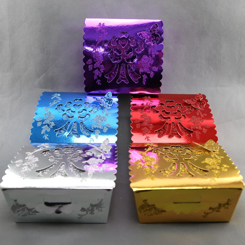 Lot boîtes à gâteaux mariage baptême motif papillon floral pailleté BTG2