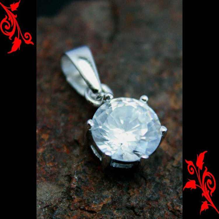 Pendentif femme diamant cz rond monte argent PA21 8mm
