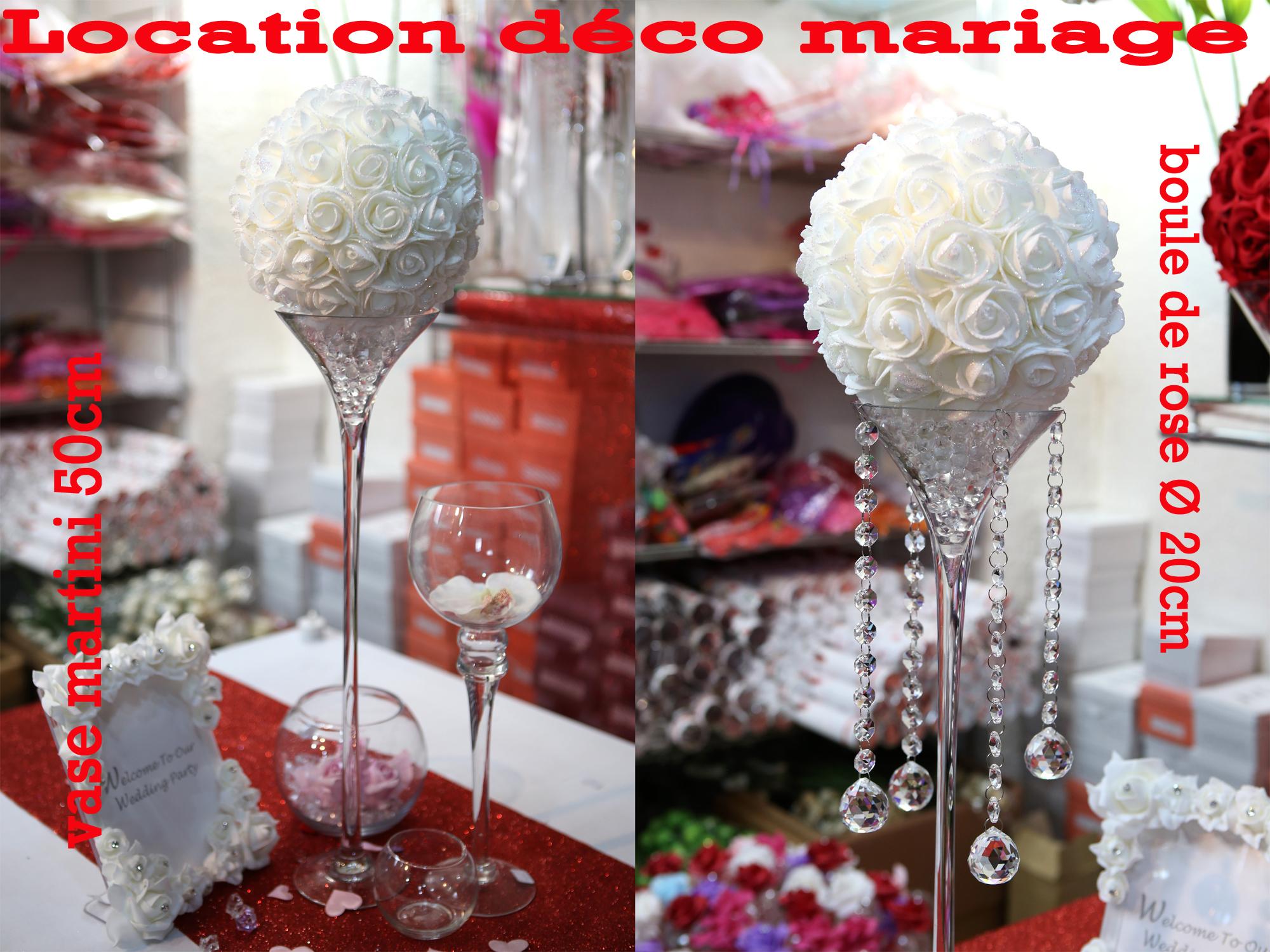 Location vase martini 50 cm avec boule de fleur LOM1