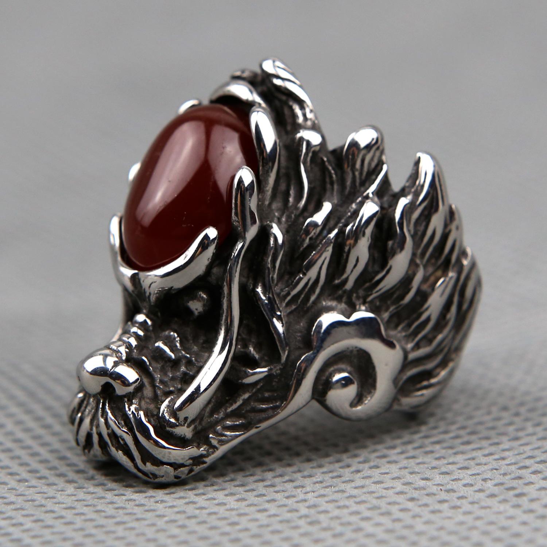 Bague homme gothique acier tête de dragon chinois BGT9 Rouge bordeaux