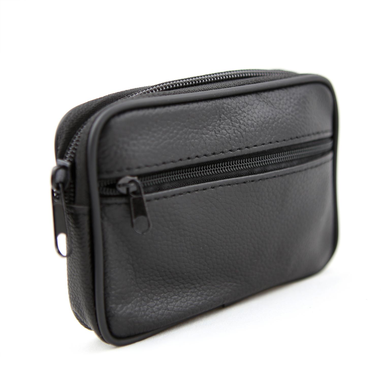 Etui housse pochette zippée à passant ceinture cuir vachette SC1V noir
