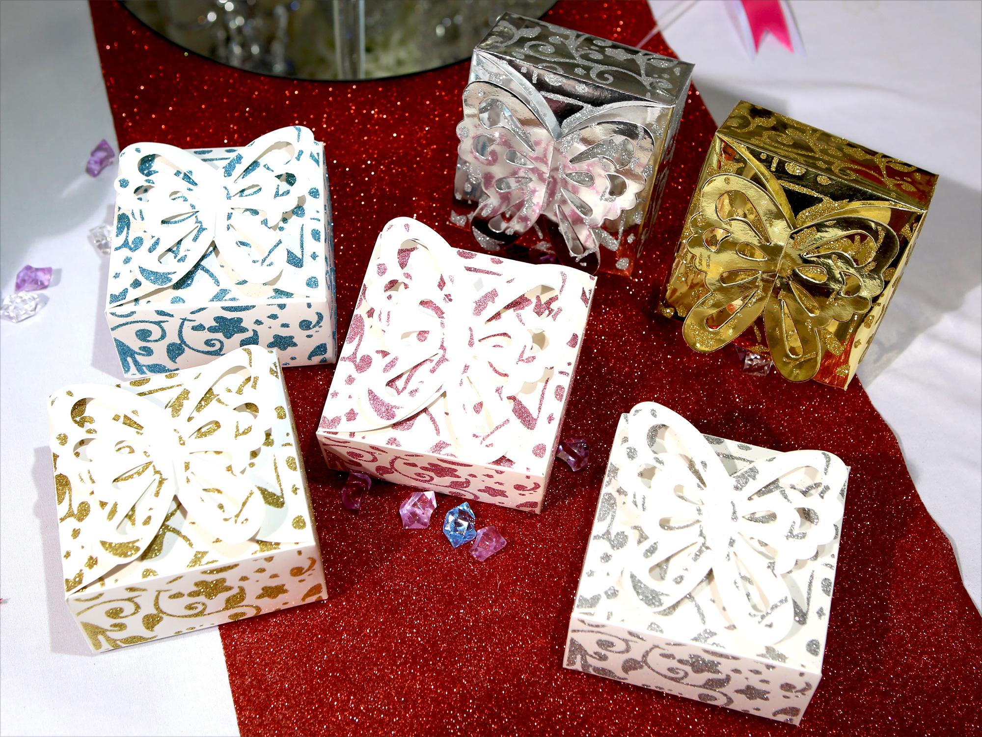 Lot boîtes à gâteaux mariage baptême papillon motif floral pailleté BTG3