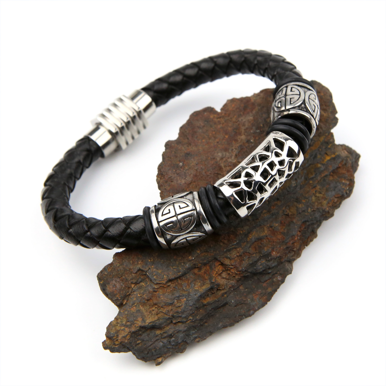 Bracelet acier cuir tressé noir motif grec fermoir magnétique BRGC4