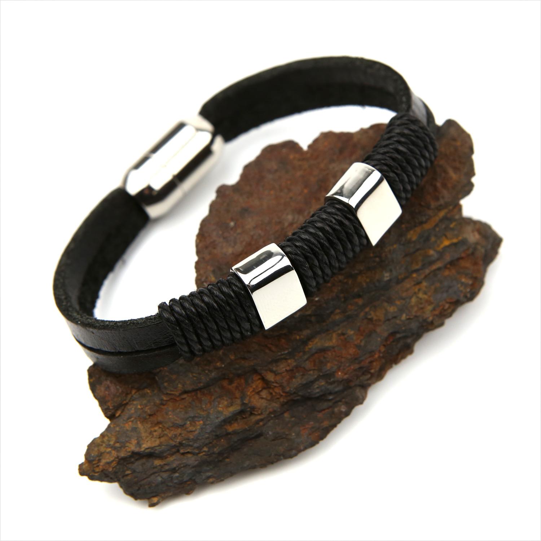 Bracelet acier cuir plat noir deux tours fermoir magnétique BRGC3