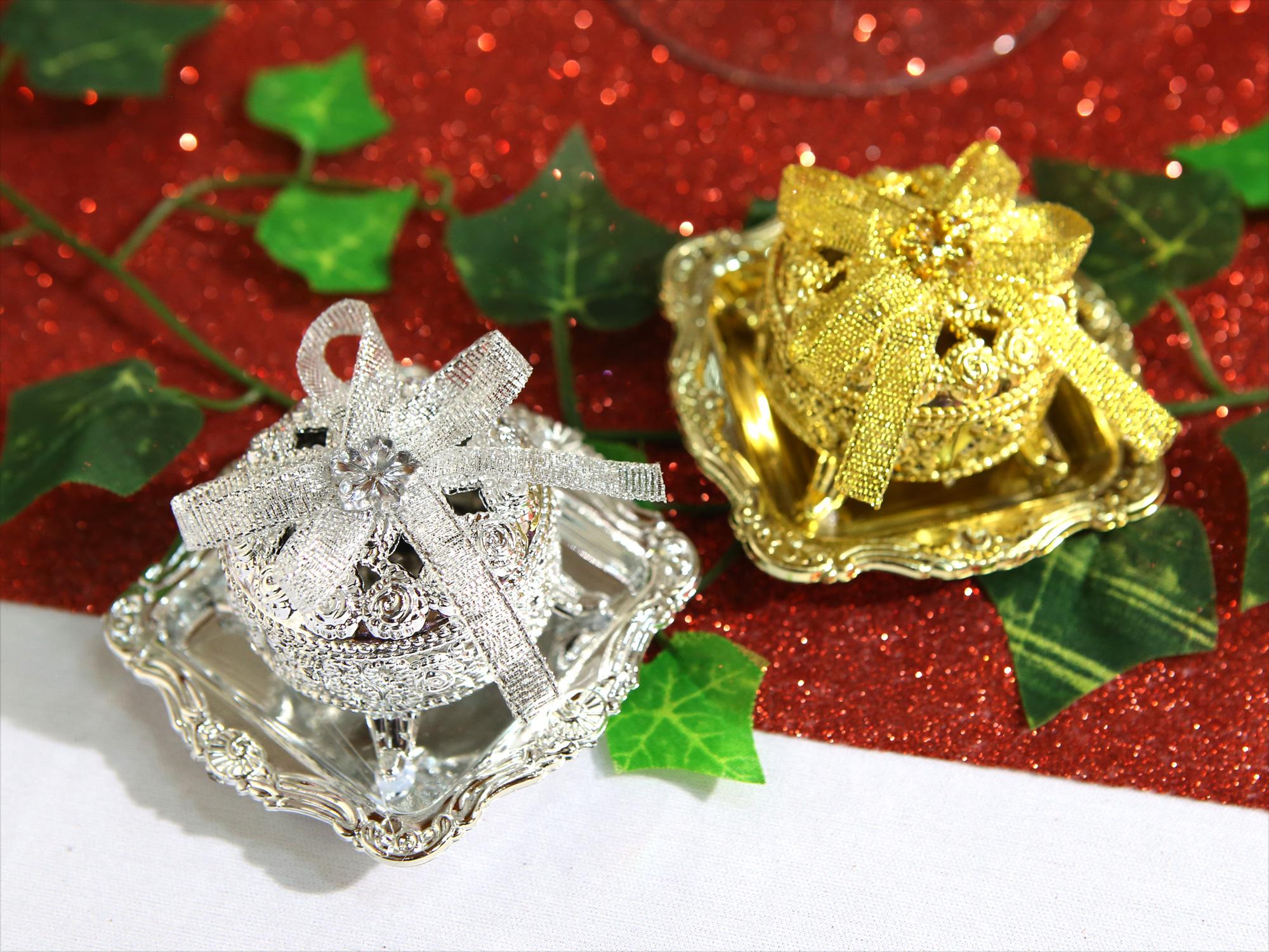 50 Boîtes à dragées métallisés avec plateau mariage BTD26
