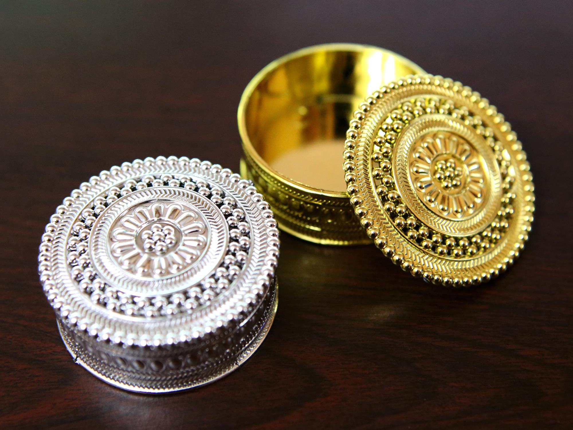 50 mini boîtes à dragées métallisés rondes orientales mariage BTD32
