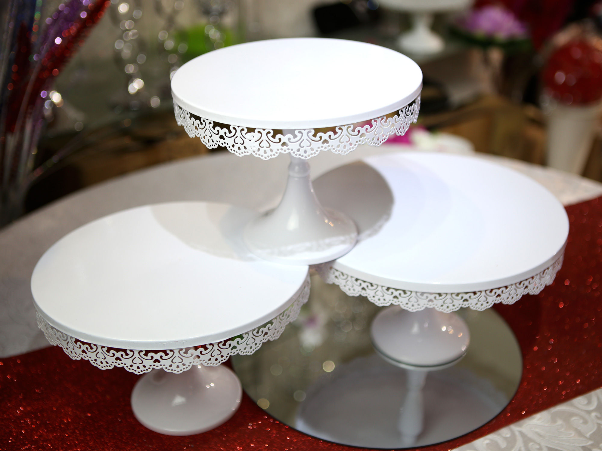 Lot de 3 présentoirs support à gâteau mariage en métal PGT2