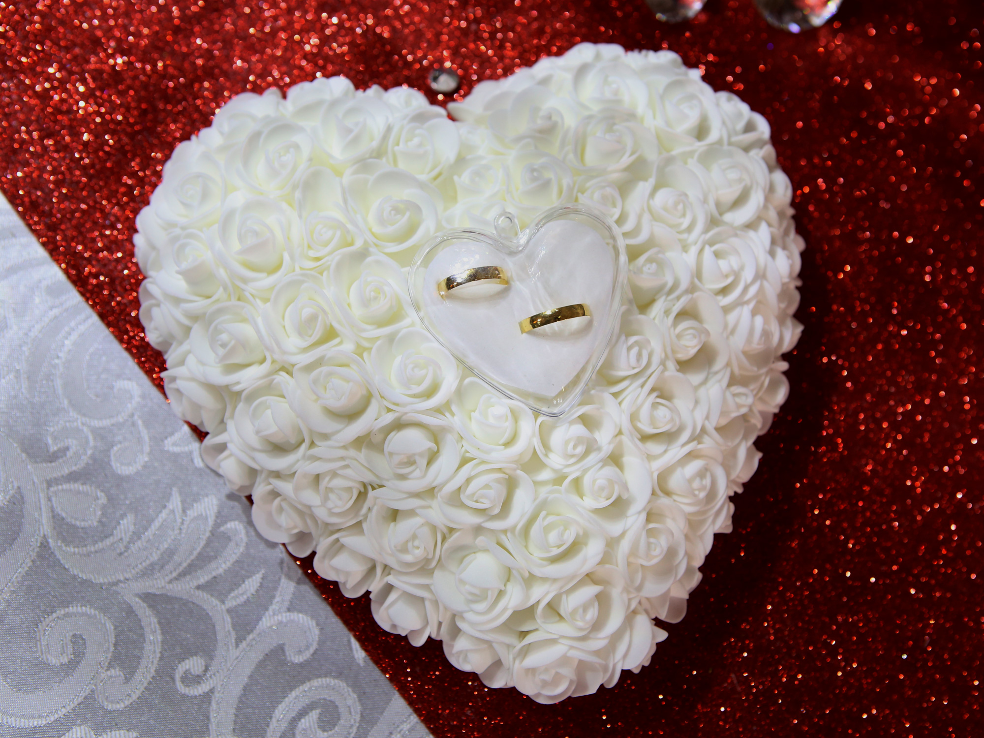 Coussin Porte Alliances Forme Cœur Plat Rigide Mariage MCA - Porte alliance mariage
