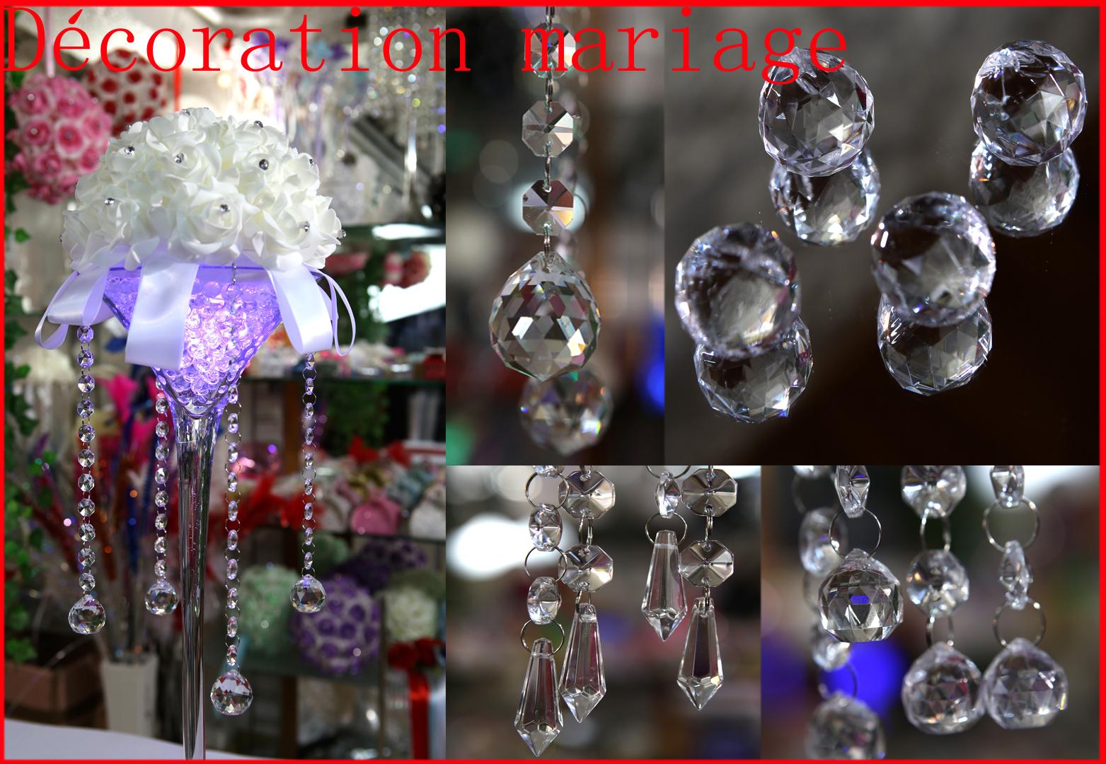 Kit de 4 chaîne Crystal / verre guirlande + pampille décoration mariage MDK