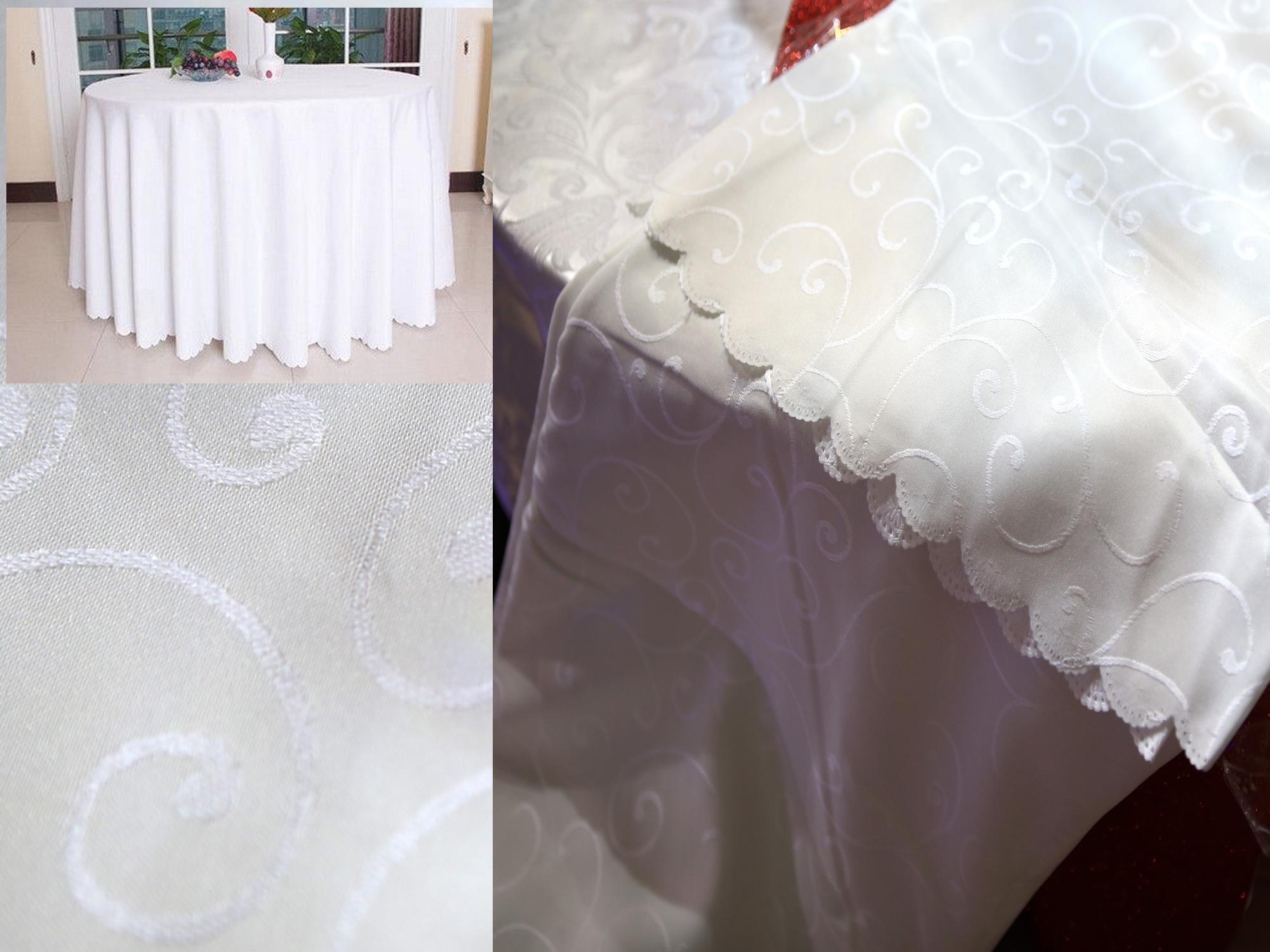 Nappe motif arabesque fleur table ronde mariage 280 cm MNP1