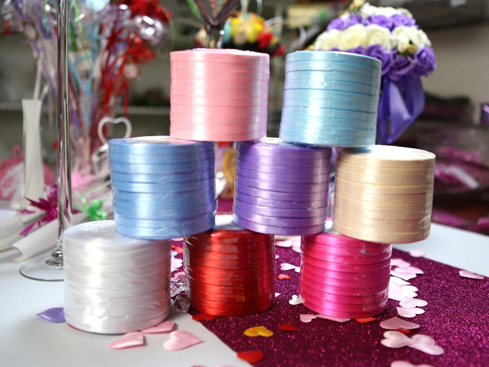 10 bobines ruban satin fin décoration mariage voiture MRS2
