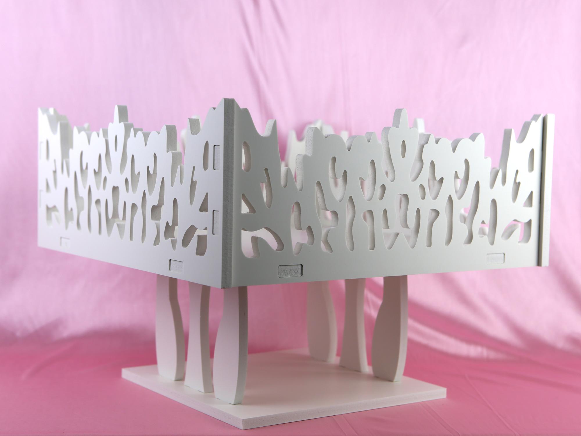 Plateau carré contenants à dragées décoration mariage MPT3