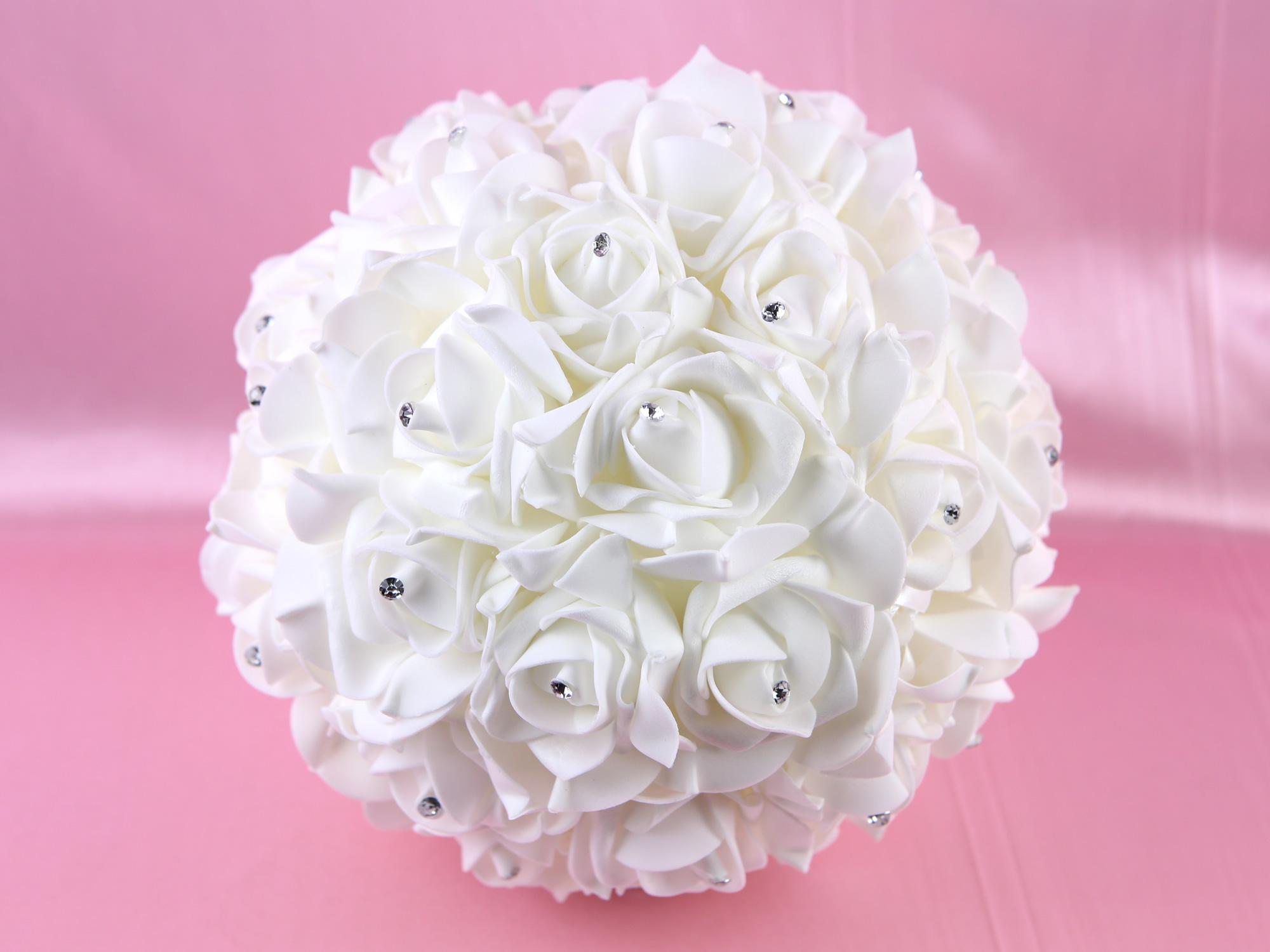 Boule de fleur artificielle avec des strass 23 cm diamètre BL23