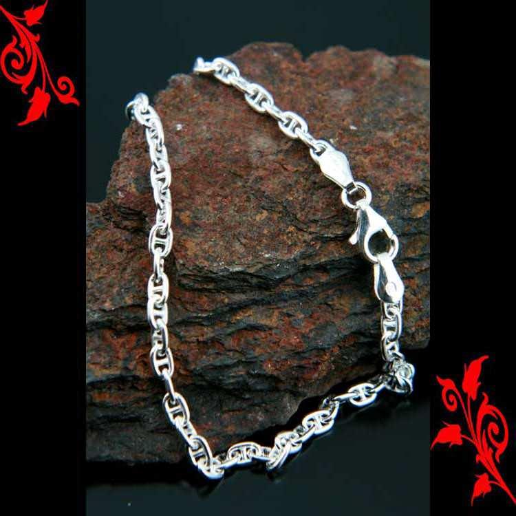 Bracelet goumette maille grain femme argent BRA22 3.4g