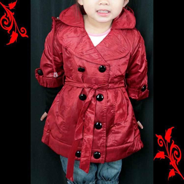 Veste trench coat fille trompe l\'oeil 2 ans à 10 ans FVS1 rouge