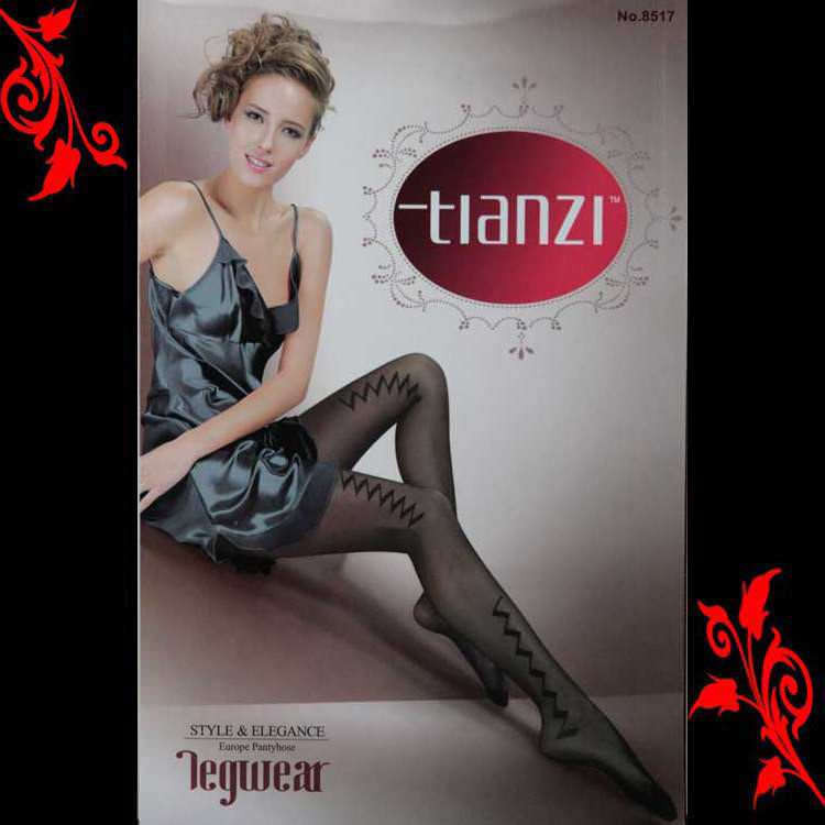 Collant noir imprime fantaisie zigzag sexy neuf 36 38 TU 8517