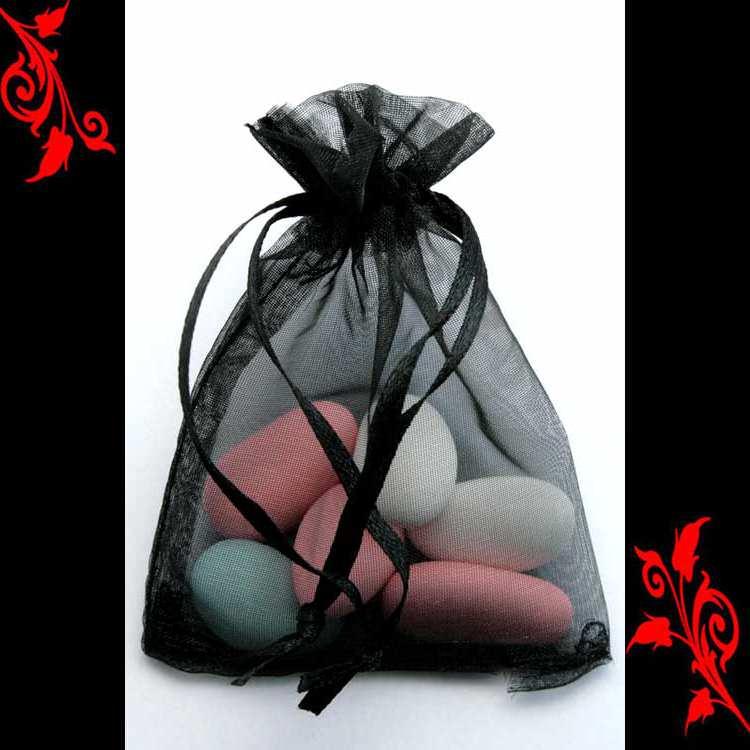 120 Sachet organza emballage dragée ballotin mariage bapteme 10x15 noir