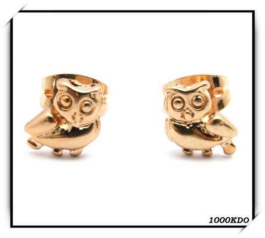 Boucles d\'oreilles puce chouette hiboux plaqué or neuf BO34