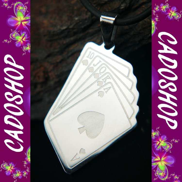 Collier pendentif poker royal flush jeux acier COS59