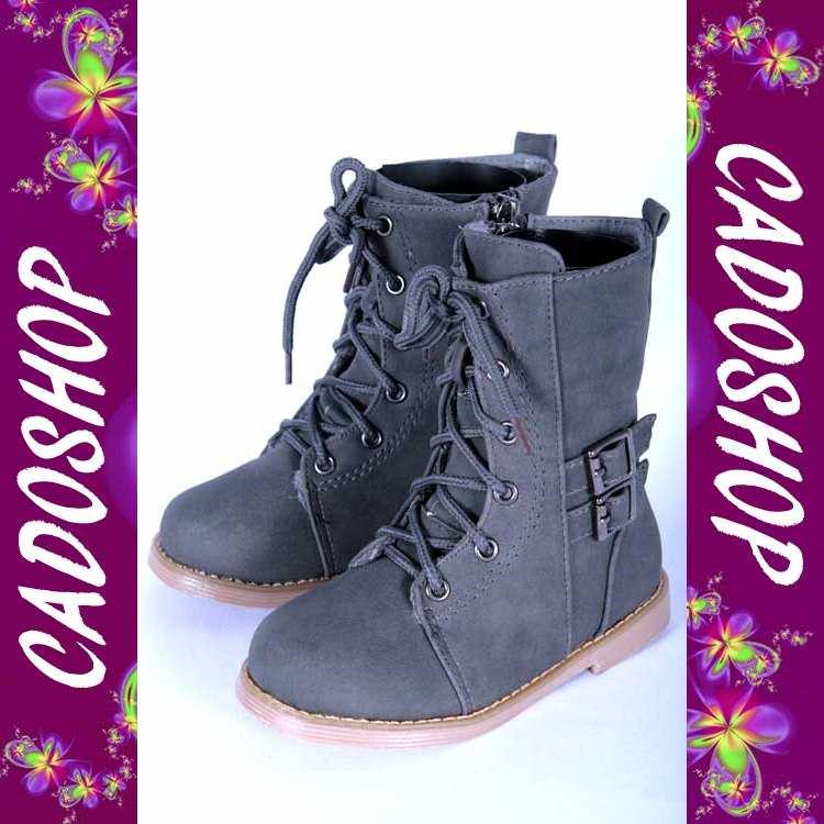Chaussures bottes bebe fille garcon enfant unisexe simili cuir hiver 19 20 21 22 23 24 B906 GRIS