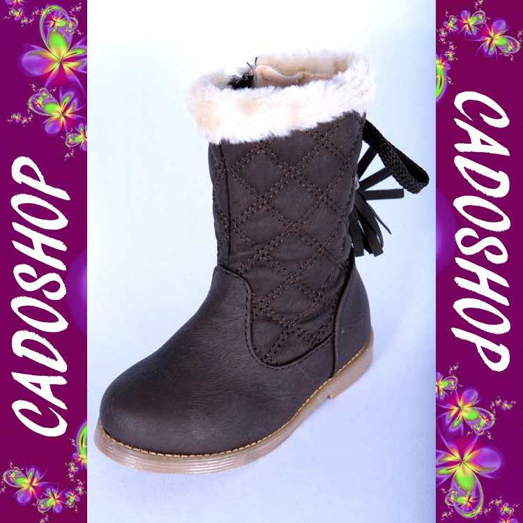 Chaussures bottes bebe fille enfant simili cuir fourre T 19 20 21 22 23 24 B913 MARRON