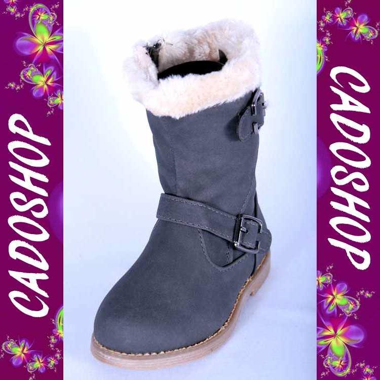Chaussures bottes bebe fille enfant simili cuir fourre hiver 19 20 21 22 23 24 B902 GRIS