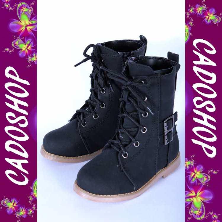 Chaussures bottes bebe fille garcon enfant unisexe simili cuir hiver 19 20 21 22 23 24 B906 NOIR