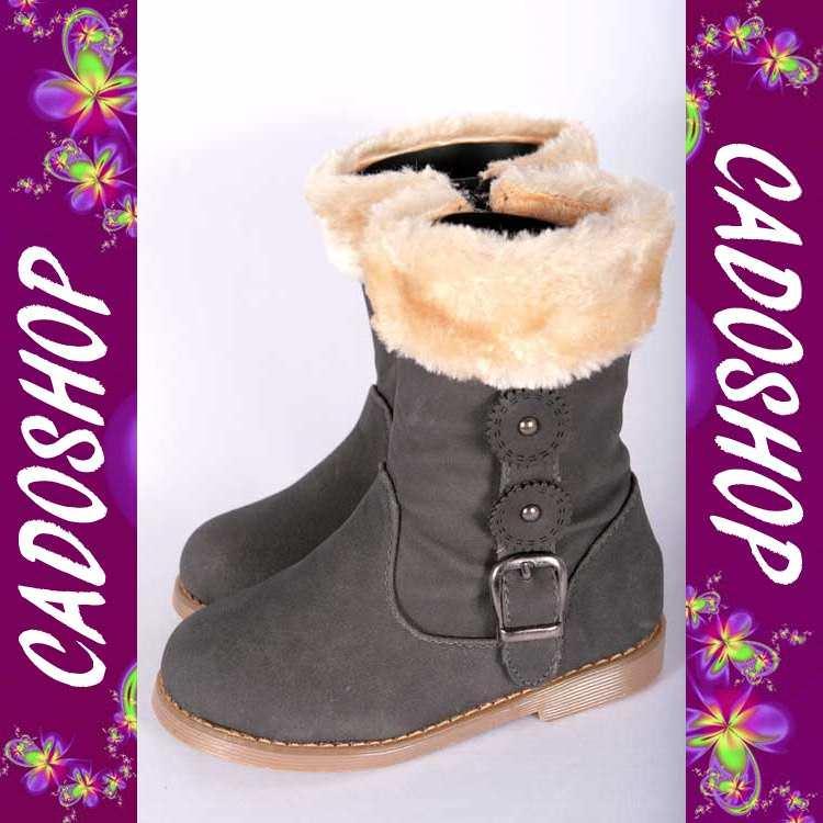 Chaussures bottes bebe fille enfant simili cuir fourre hiver 19 20 21 22 23 24 B915 GRIS