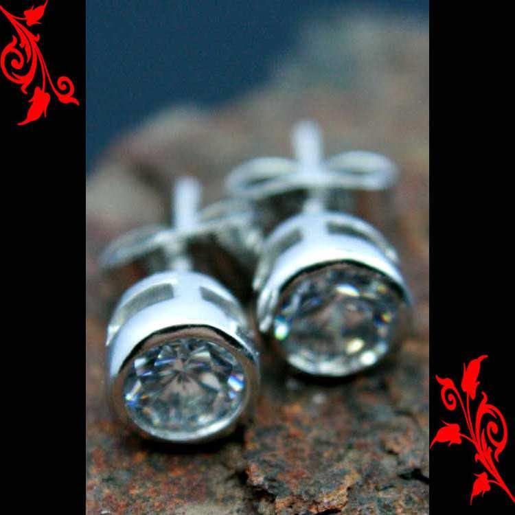 Boucle d\'oreille diamant cz homme cl plaque BO20 5mm
