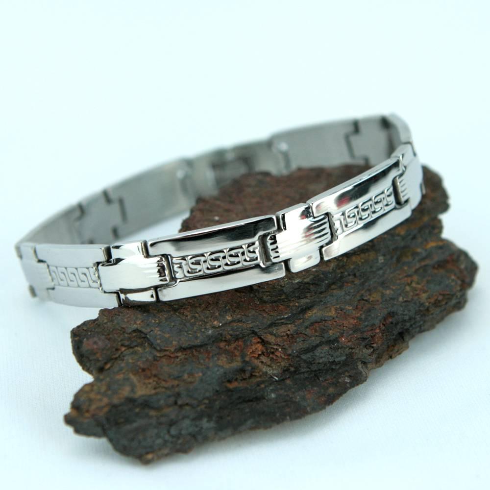 Bracelet acier homme motif grecque et croix BRSA2
