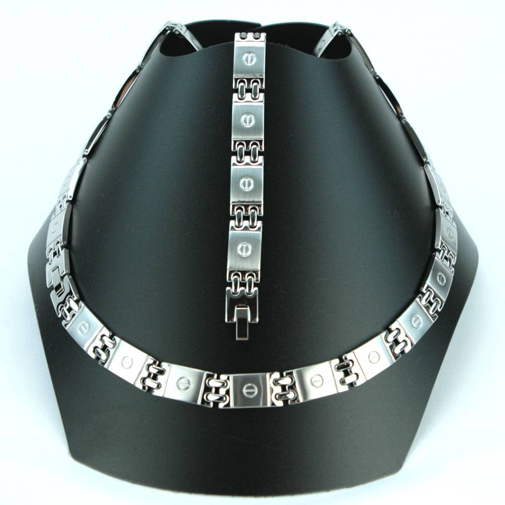 Parure acier collier bracelet maillon motif vis PRS13