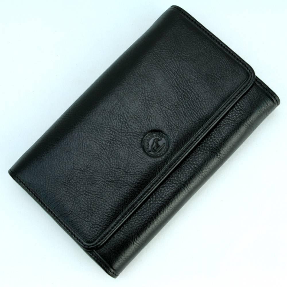 Compagnon de voyage tout en un portefeuille porte carte cuir S5685 Noir