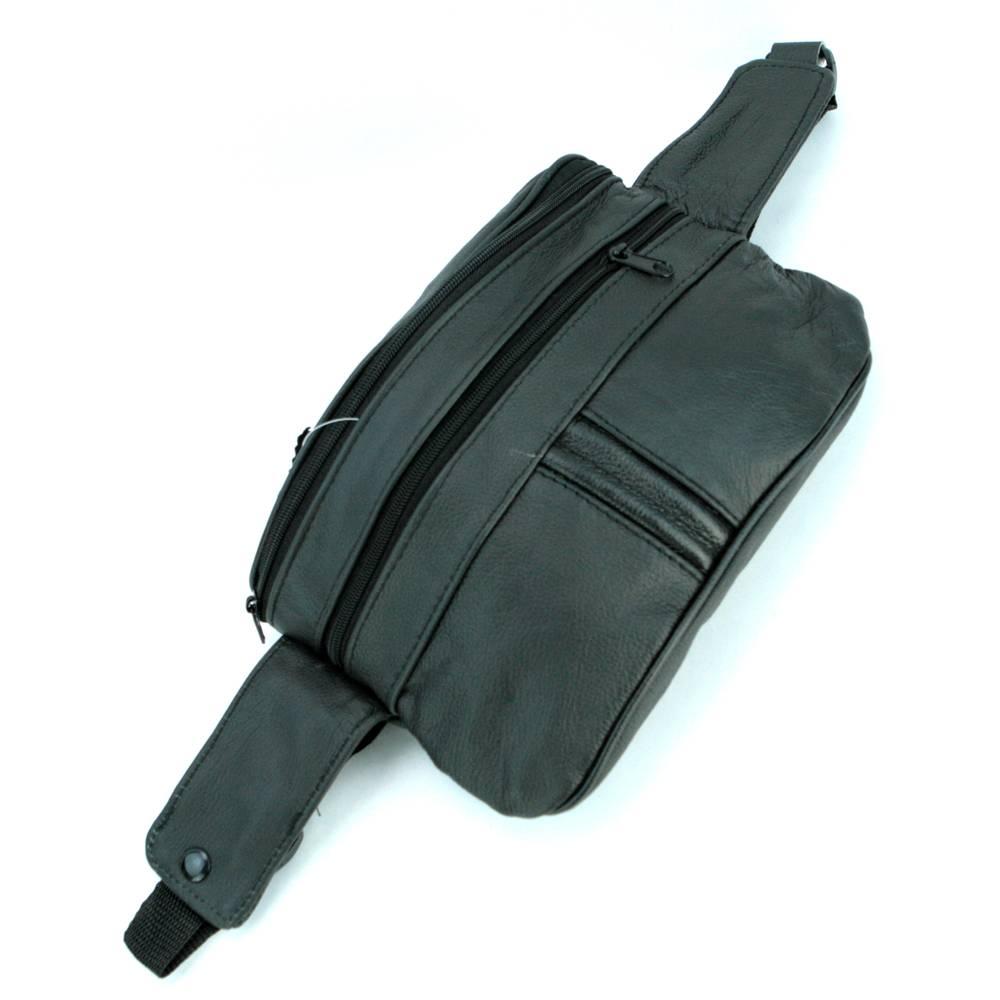 Sac banane sacoche à ceinture ajustable cuir vachette SB21 Noir