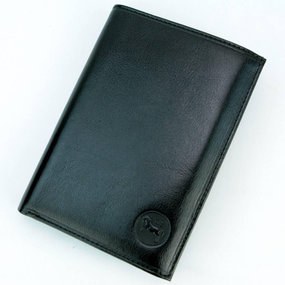 Portefeuille porte cartes 2 volets cuir vachette GZ0002 Noir