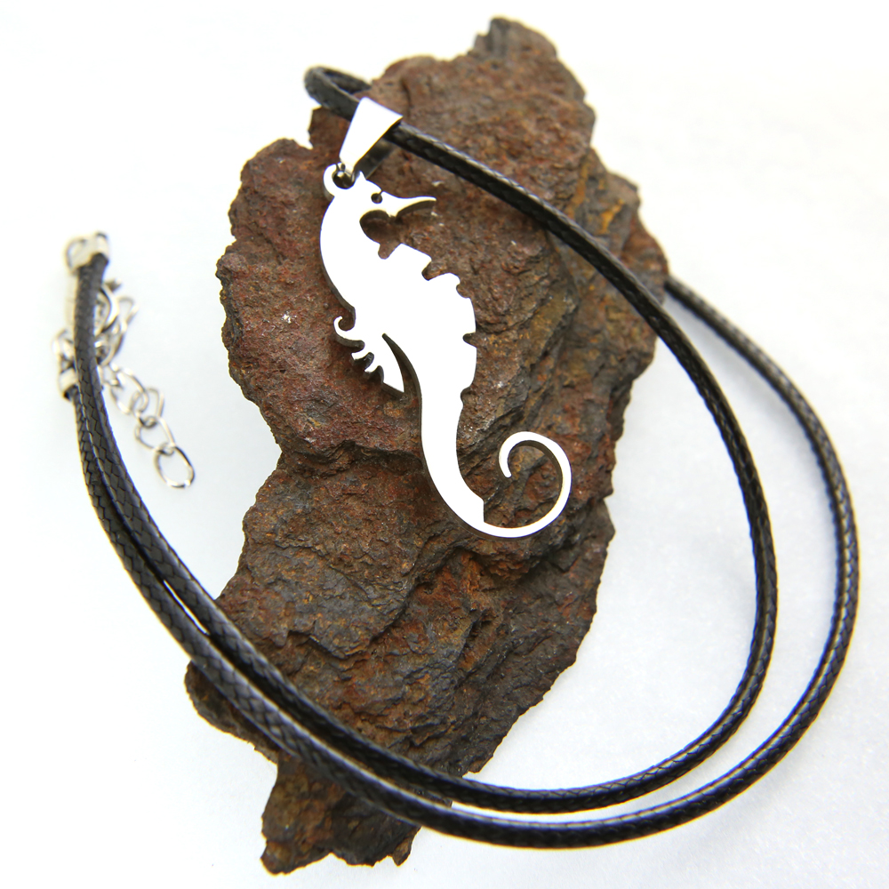 Pendentif acier hippocampe + collier cordon noir homme COSA6