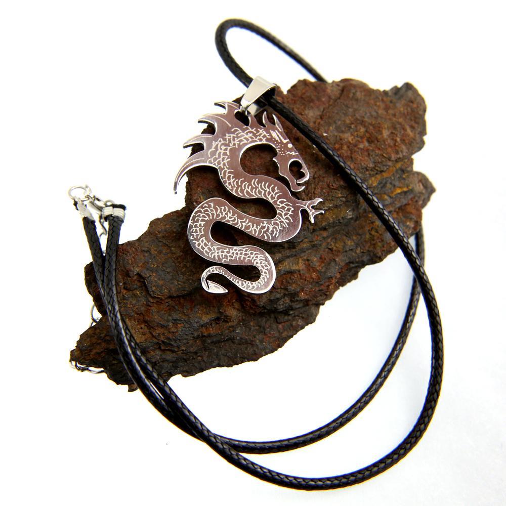 Pendentif acier dragon + collier cordon noir homme COSA5