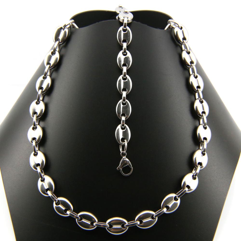 Parure collier + bracelet acier maille grain de café homme PRS3