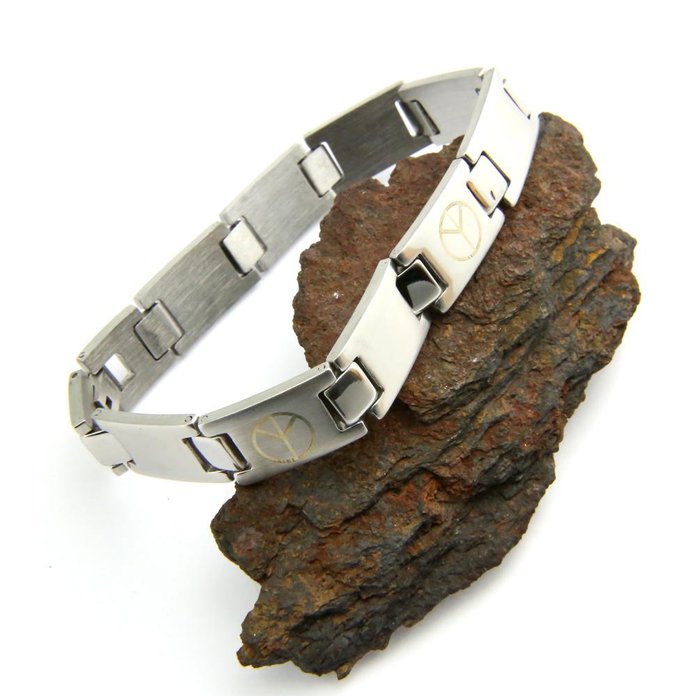 Bracelet acier homme motif peace and love BRSJ4