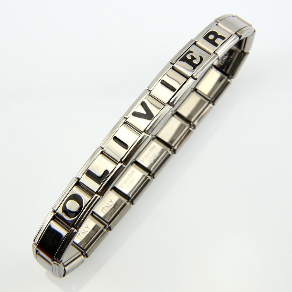 Bracelet acier Italien lettre noir au choix BRSL1 N