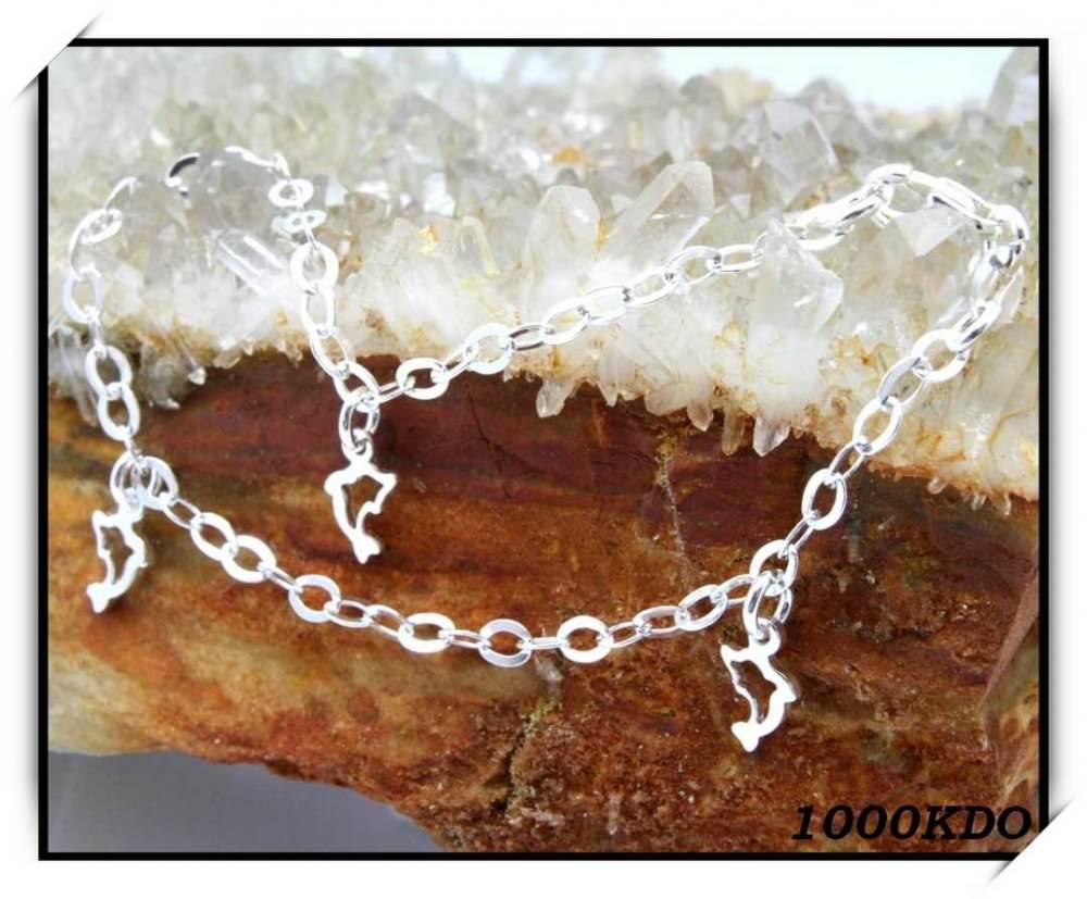 Bracelet Gourmette Enfant Dauphins En Argent Neuf BRA11