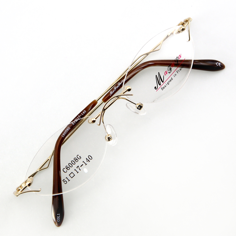 Monture de lunettes de vue percée invisible LC6008 Doré