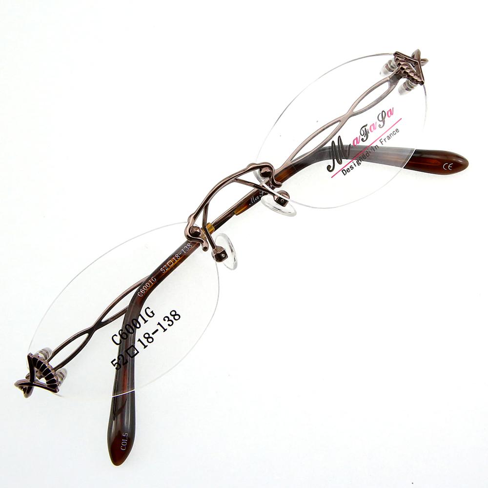Monture de lunettes de vue percée invisible LC6001 Marron