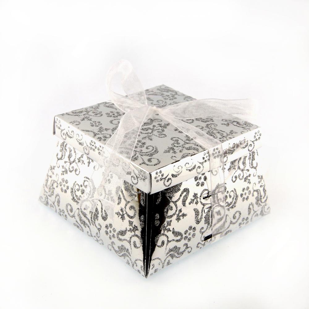 50 boîtes à gâteaux pour faire part mariage baptême motif floral BTC22 Argenté