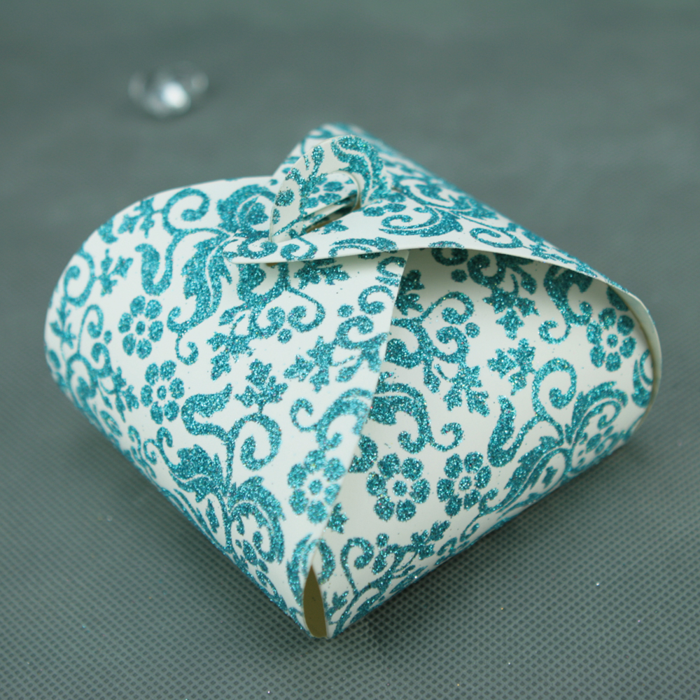 50 boîtes à gâteaux pour faire part mariage baptême motif floral BTC2 Paillette bleu