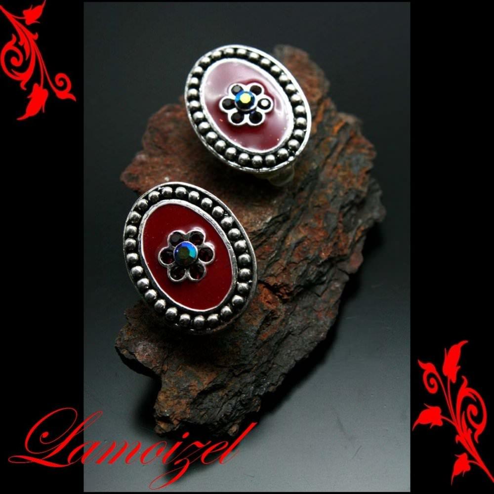 Boucles d\'oreilles bo clip puce rouge bordeaux neuf BOC23
