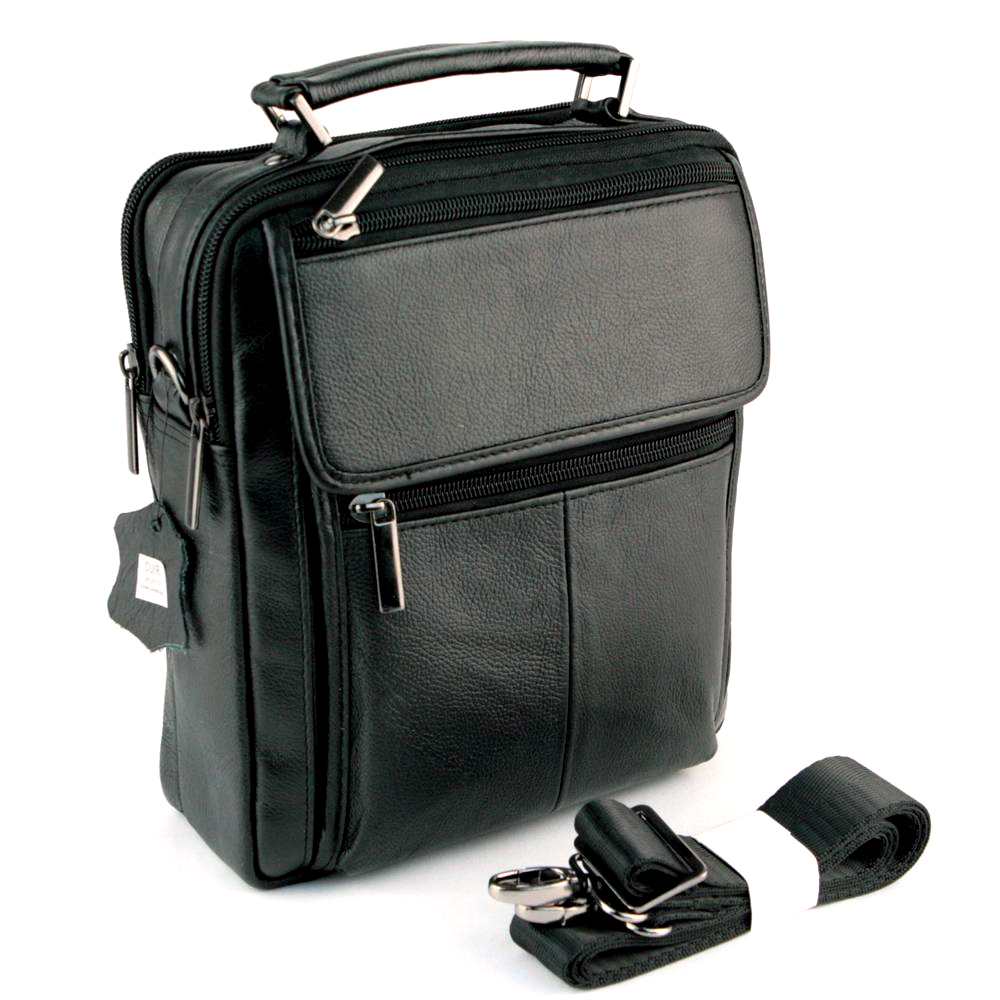 Sacoche besace sac à bandoulière cuir vachette SB7009 Noir