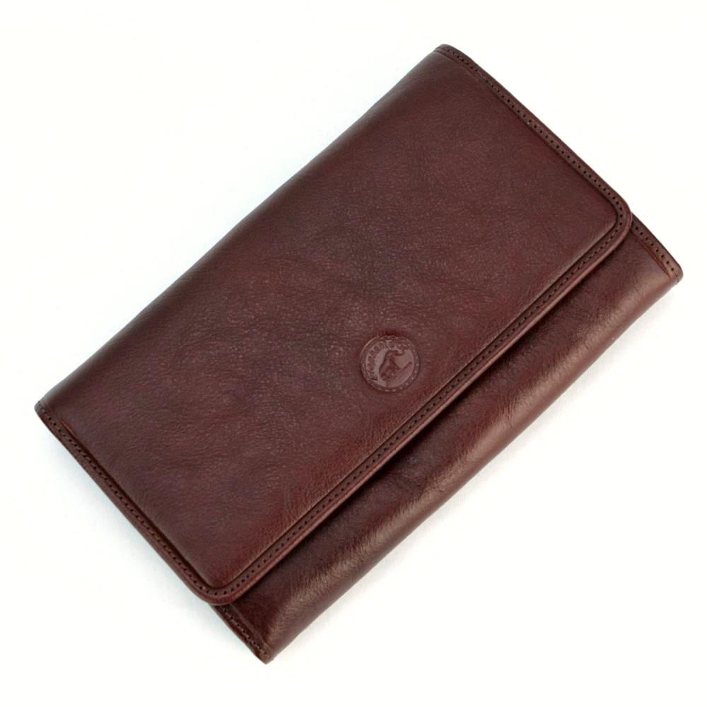 Compagnon de voyage tout en un portefeuille porte carte cuir S5685 Marron