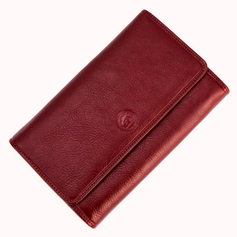 Compagnon de voyage tout en un portefeuille porte carte cuir S5685 Rouge